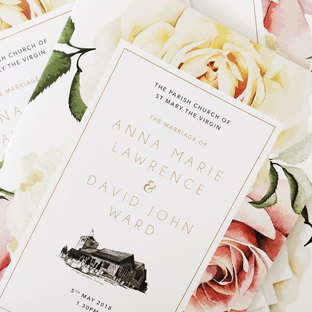 What lovely wedding weather we have been having. Perfect for a countryside wedding filled with lots of beautiful roses and drinks outside to celebrate. We worked on some printed wedding day items for the lovely Anna and David earlier last month and wish them a lifetime of happiness together. . . . #engaged #bride #groom #roses #churchwedding #englishcountrywedding #savethedate #invitations #weddingstationery #weddinginvitations #weddinginspo #ido #smallbusiness