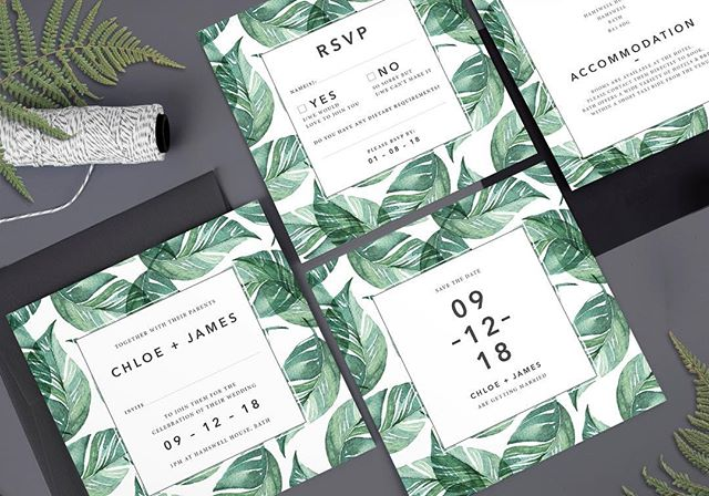 It's set to be another scorcher today! All the tropical vibes captured in our Chloe design which is also available in midnight blue. Free deliveries on all orders with code SUMMER18 too! 🌿☀️ . . . #weddingstationery #weddinginvitations #invitations #bride #groom #tropicalinvitation #foliage #savethedate #wedding #summer