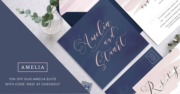 Our Amelia wedding stationery collection is currently 10% off when using the discount code WED at checkout. As always the text throughout is fully customisable, colours can be changed to suit and includes free envelopes with every order. Happy Saturday! . . . #wedding #weddinginvitation #weddingstationery #savethedate #calligraphy #blushpinkwedding #bride #groom #weddingideas