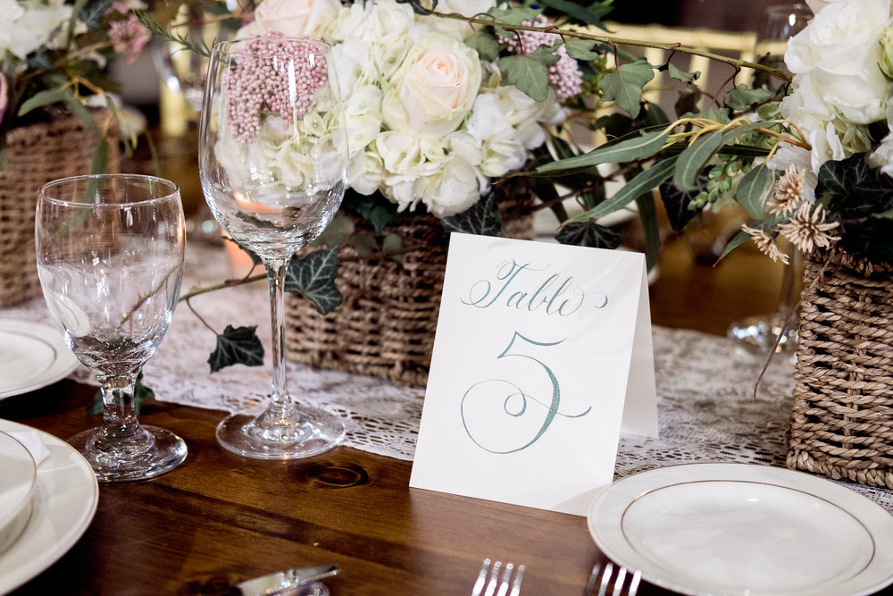 Table number card by La Lettera Calligraphy NYC  for Exquisite Event Planners Co. Photographed by Caitlin's Living Photography. 2017