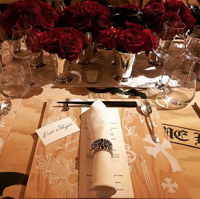 It was an honor to do some place cards for this GEORGEOUS table setting at Chrome Hearts last night. The details were spectacular! @chromeheartsofficial . . . . . . #chromehearts #calligraphy #nyc #events #placecards #tablesetting #design #chromeheartsofficial #fashion #dramatic #beautiful #lv #louisvuitton #placesetting