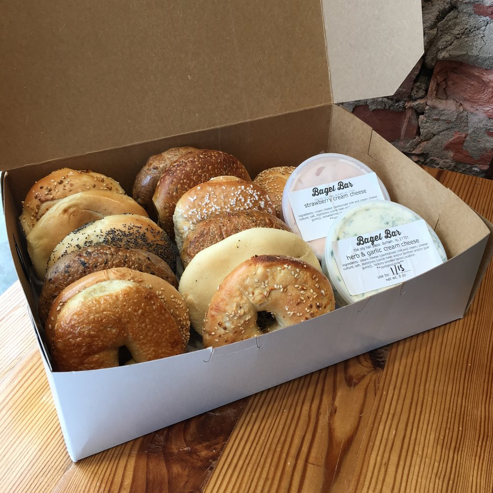 Bagel Bundle Box with assorted bagels and cream cheese