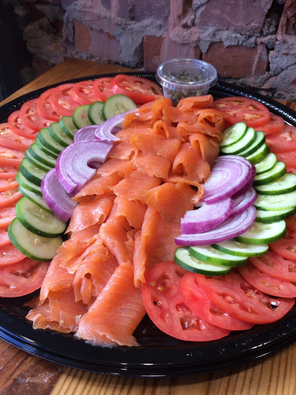 Lox Platter (with red onion, cucumber, tomato, & capers)