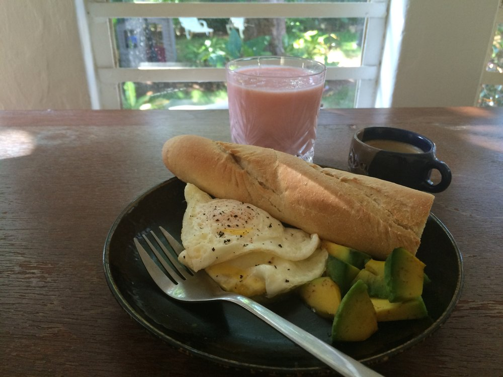 My typical breakfast during Cuba's wet season: eggs over easy, bread, and avocado.