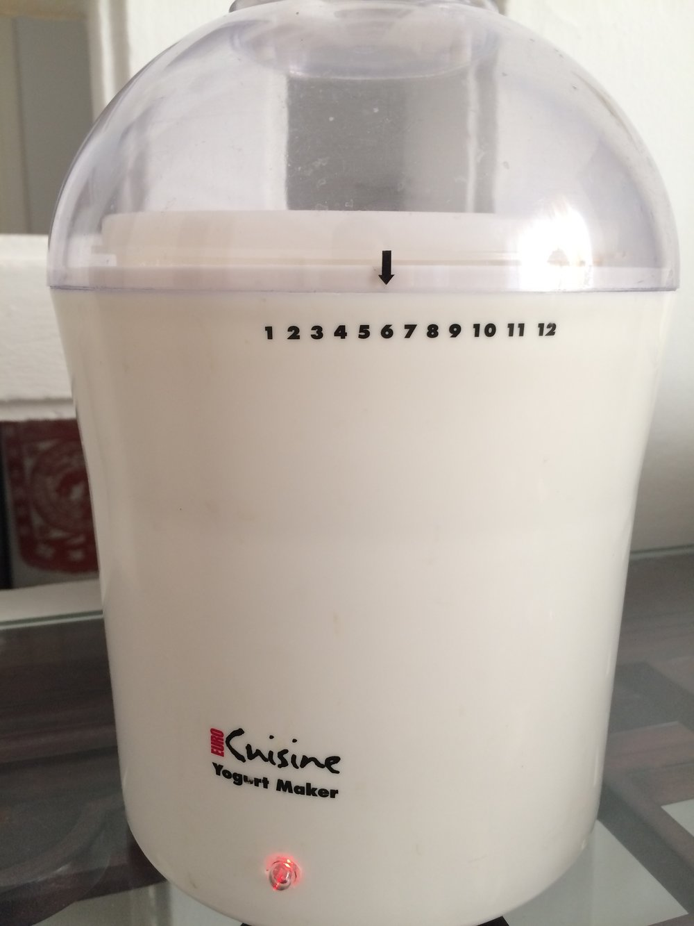 My 2-quart yogurt maker incubates milk at a steady 110 degrees Fahrenheit.