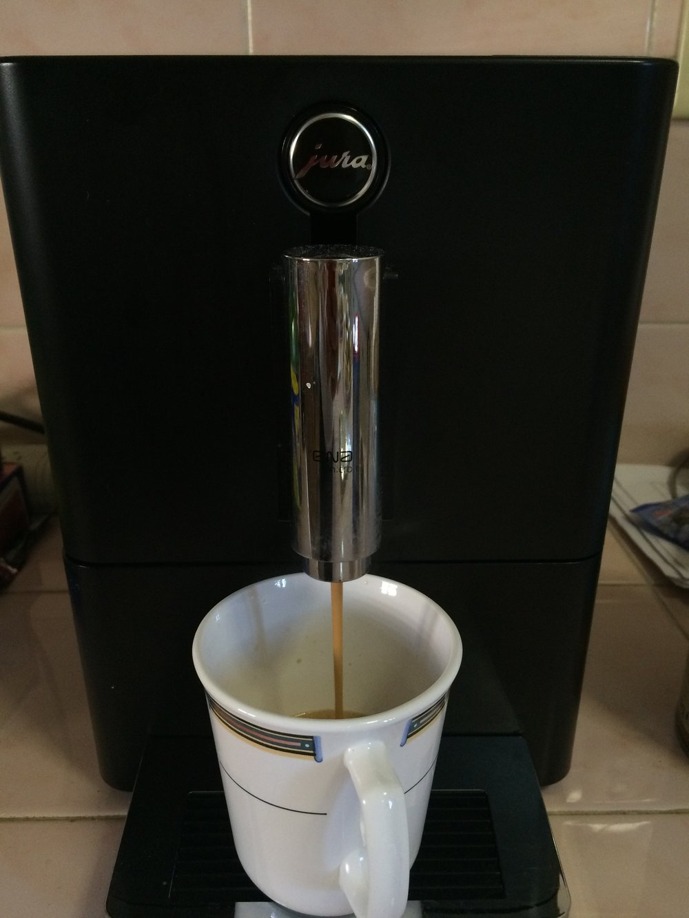 My favorite kitchen appliance, the Jura espresso/coffee maker.