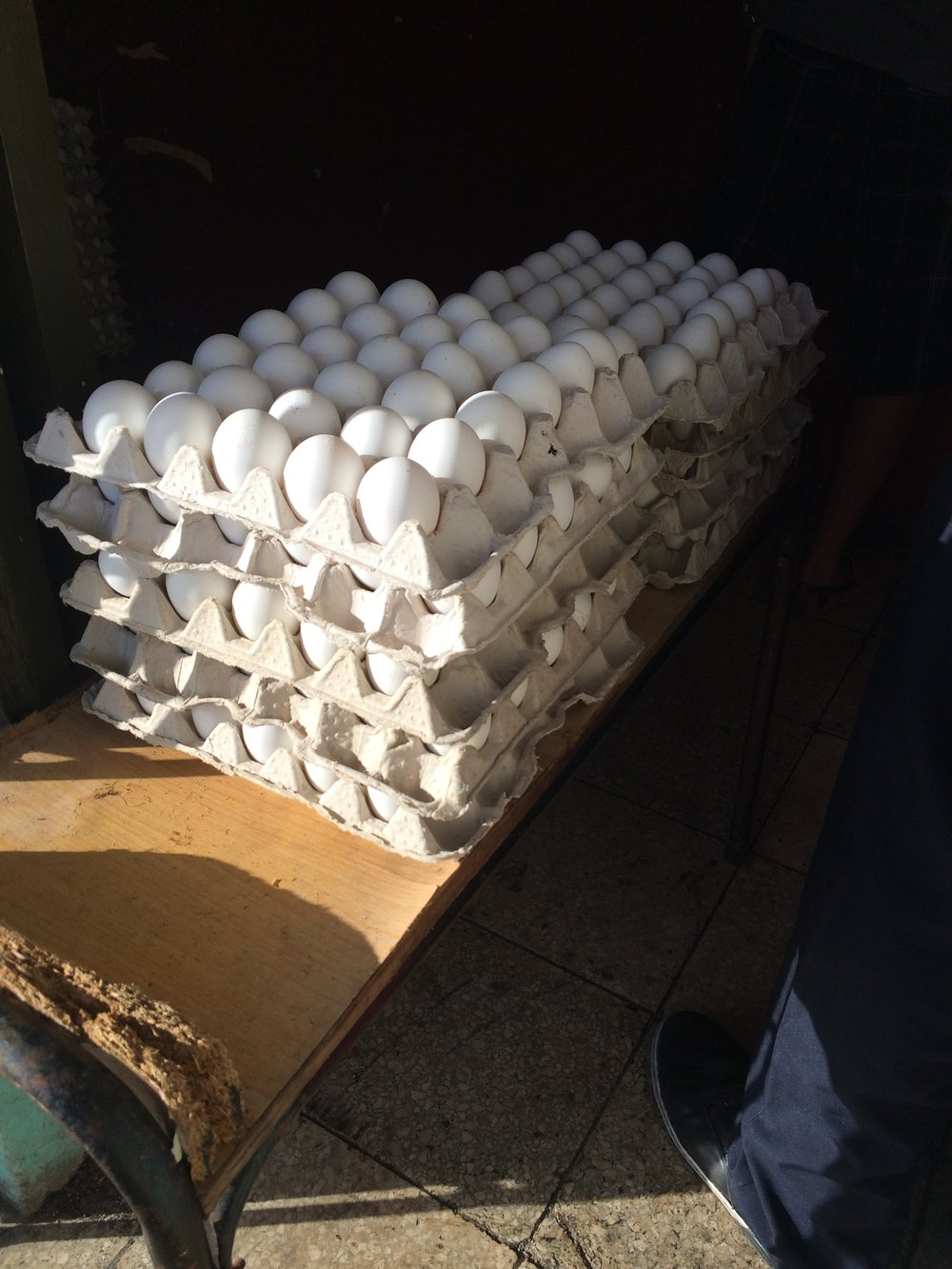 The once or twice a month delivery of eggs at my local bodega.