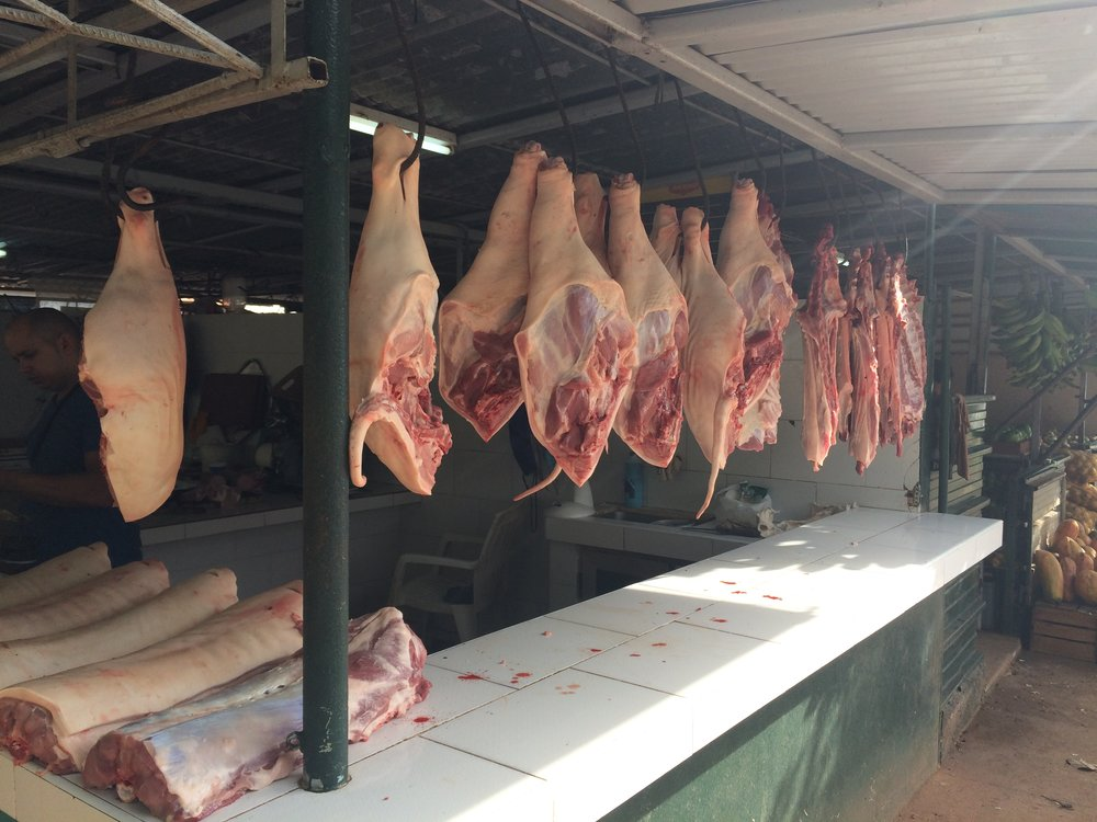 Pork: a common sight in Cuba, even when there are shortages of everything else.