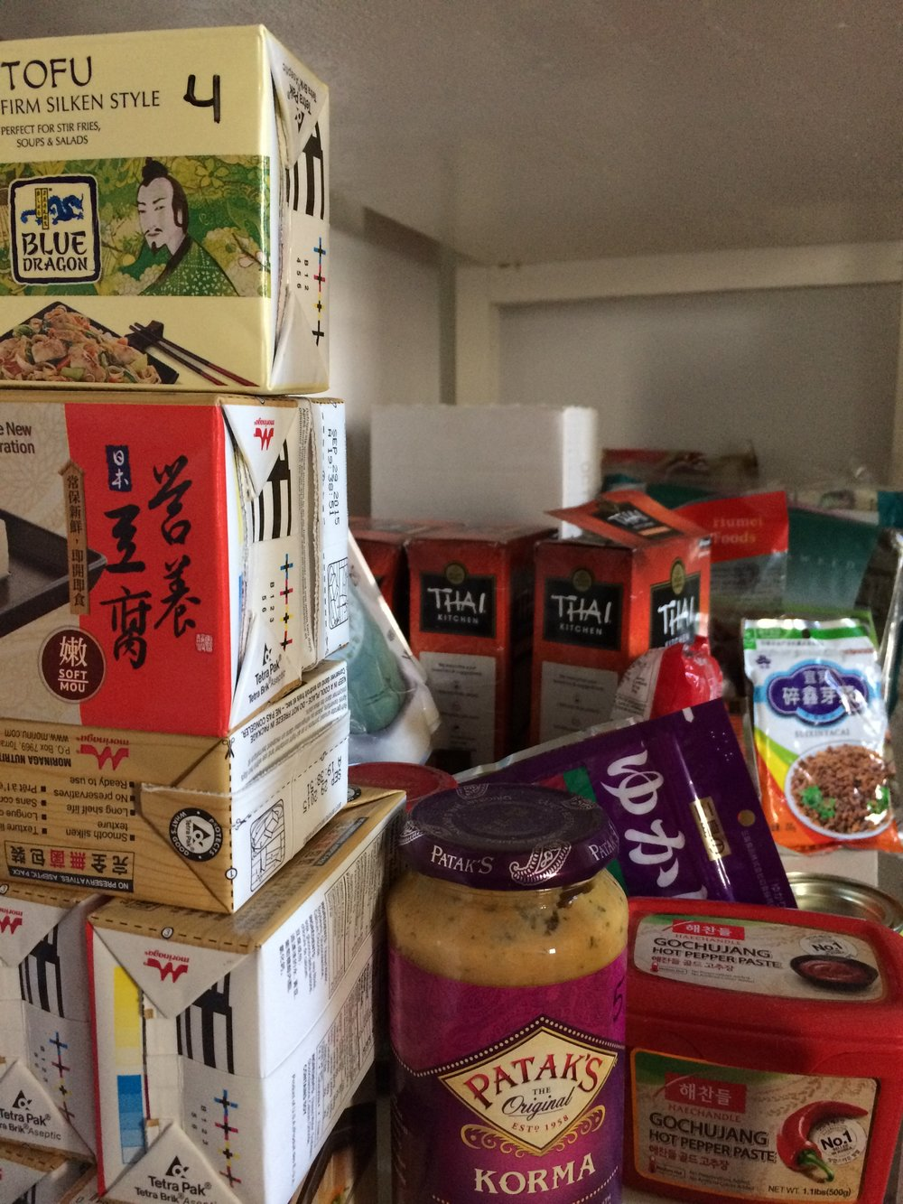 The very messy Asian section of my pantry. Except for the tofu, it wouldn't help much if we lost power and couldn't cook.