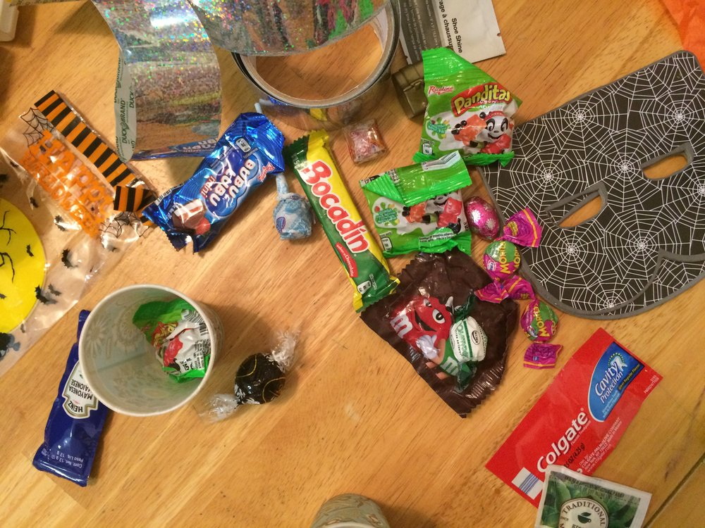"Some of the tricks and treats in the game we're making for tonight's ""trunk or treating."""