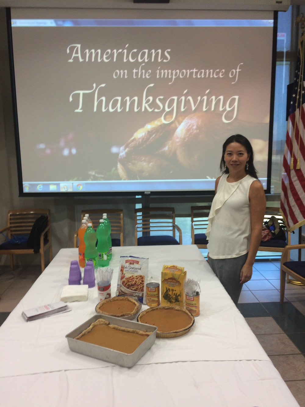 The typical American packaged goods for Thanksgiving were a novelty to the Cuban audience.