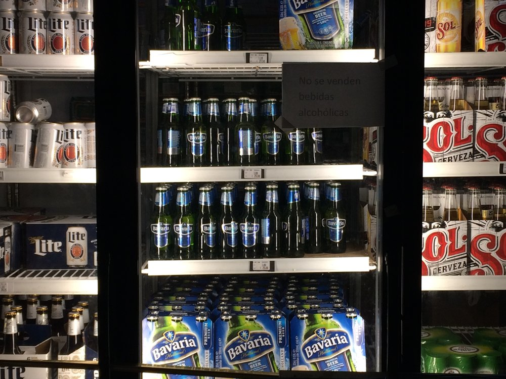 My neighbor store currently carries the best selection of beer I have ever seen in Cuba, but the sale of beer and other alcoholic beverages is banned until next week, after the end of the nine-day mourning period.