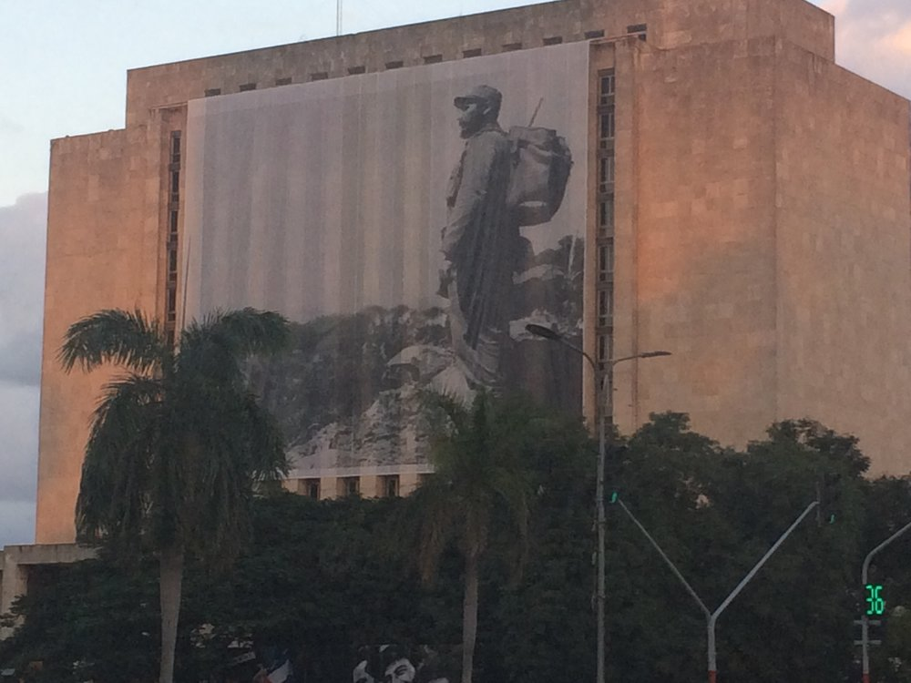 This large poster of Fidel appeared in the Plaza de la Revolution over the weekend.