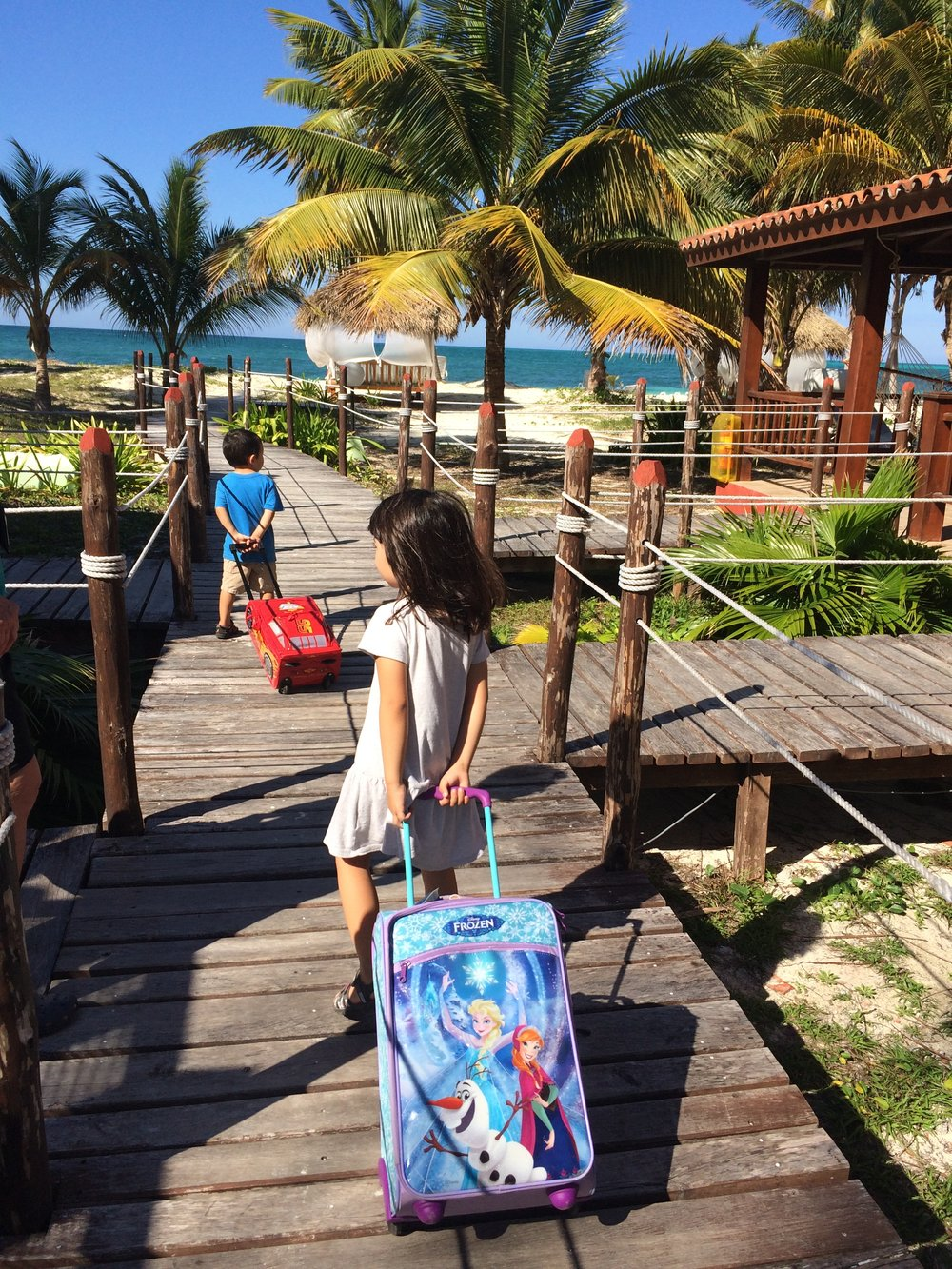 Arriving on an island for a beach vacation, just off the main island of Cuba where we live.