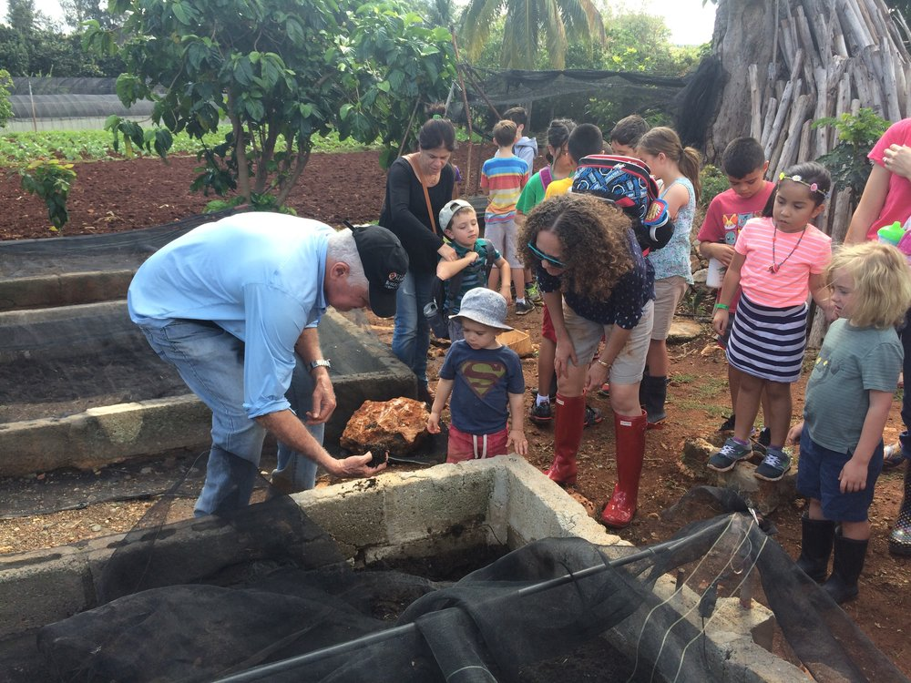 Miguel Salcines, the founder of the Alamar Orgoponico, shows our kids the earthworms that produce nutrient-rich, organic soil for his fields.