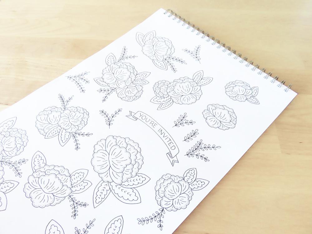 Bea & Bloom Wedding Stationery Sketchbook Flowers