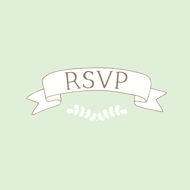 Bea & Bloom Illustrated Wedding Stationery Green Banner RSVP