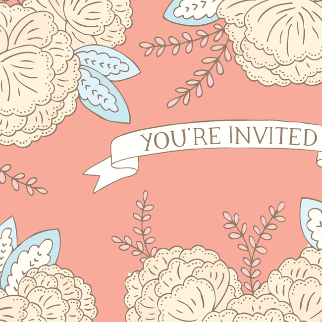 Bea & Bloom Illustrated Wedding Stationery Floral Blooms You're Invited