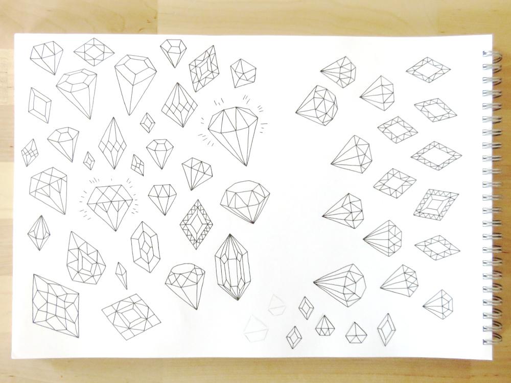 Bea & Bloom Illustrated Wedding Stationery Sketchbook Gems DIamonds