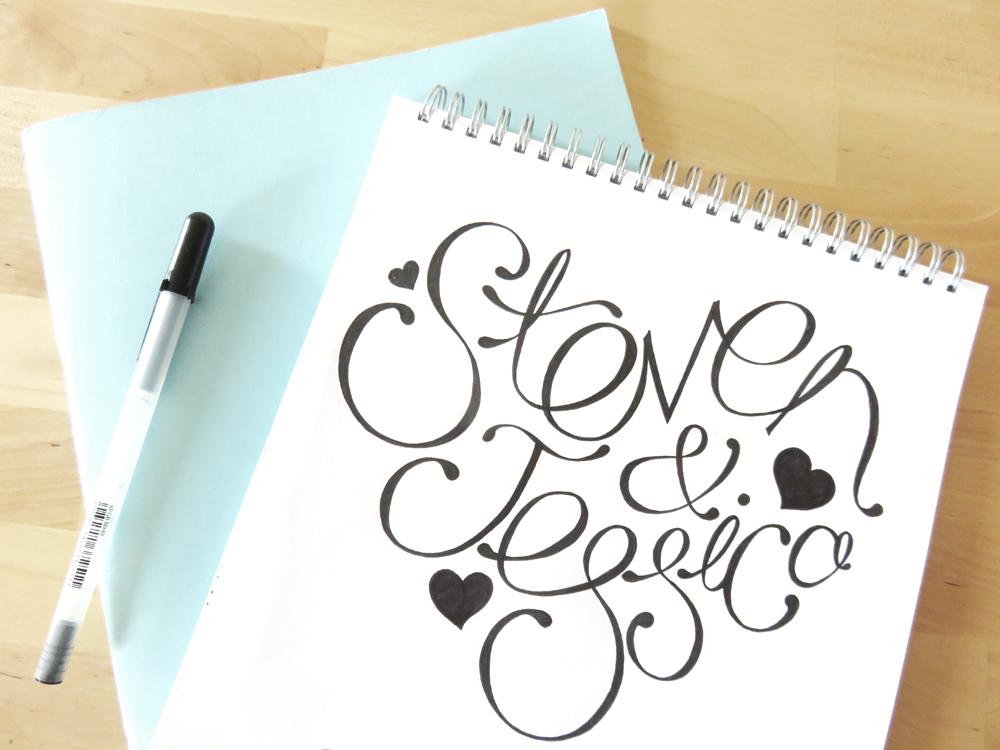 Bea & Bloom Illustrated Wedding Stationery Sketchbook Love Heart Names typography lettering