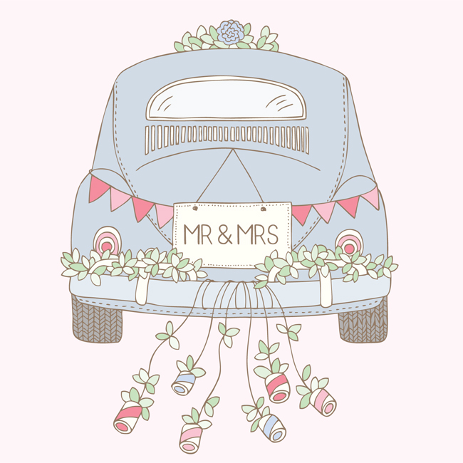 Bea & Bloom Illustrated Wedding Stationery Sneak Peek Wedding Wheels