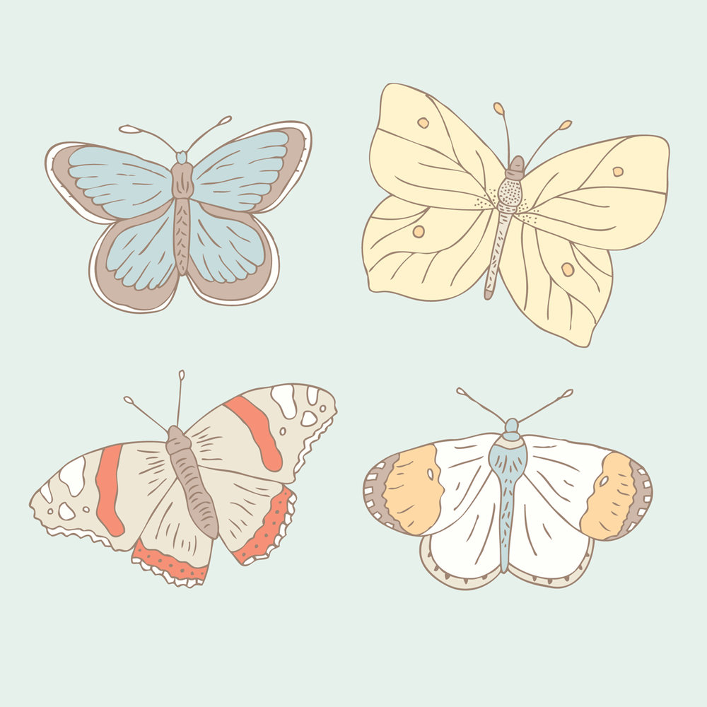 Bea & Bloom Illustrated Wedding Stationery Sneak Peek Butterflies