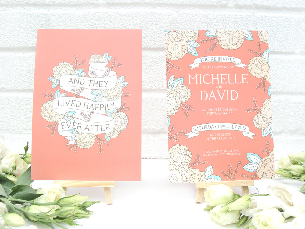 Bea & Bloom Illustrated Wedding stationery Happily Ever After fairytale
