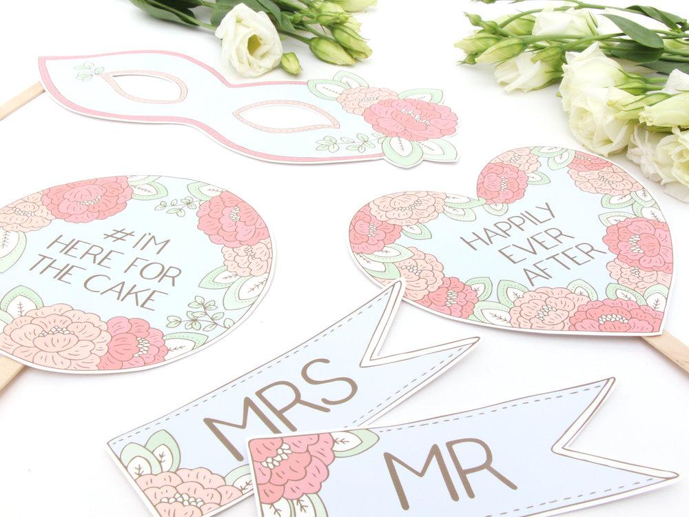 Bea & Bloom Illustrated Wedding stationery custom photo props