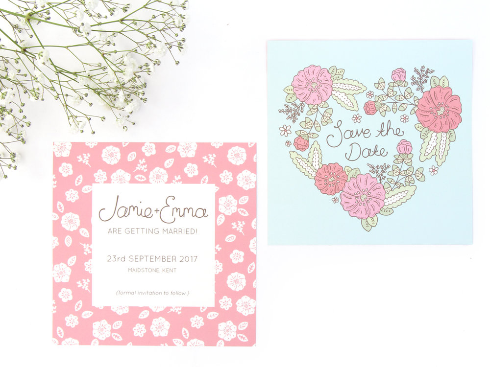 Bea & Bloom Illustrated Wedding stationery bespoke save the date