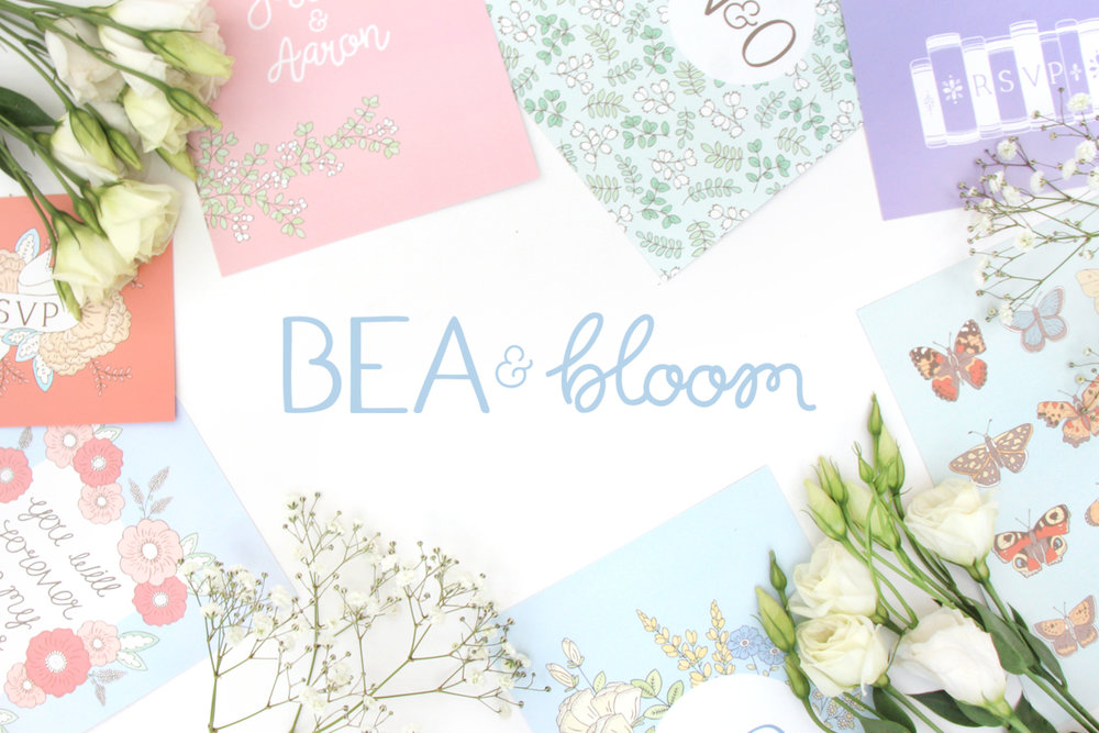 Bea and Bloom illustrated wedding stationery