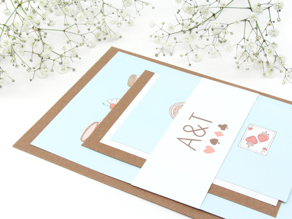 Bea & Bloom Alice in Wonderland Illustrated Wedding Stationery sample