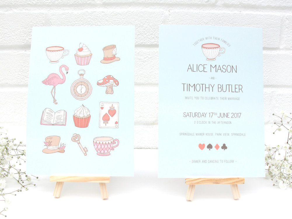 Bea and Bloom Illustrated Wedding Stationery Alice in Wonderland