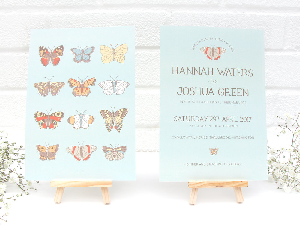 Bea and Bloom Illustrated Wedding Stationery Flutterbye Butterflies