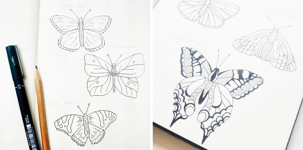 Bea and Bloom Illustrated Wedding Stationery Flutterbye Butterfly Sketchbook