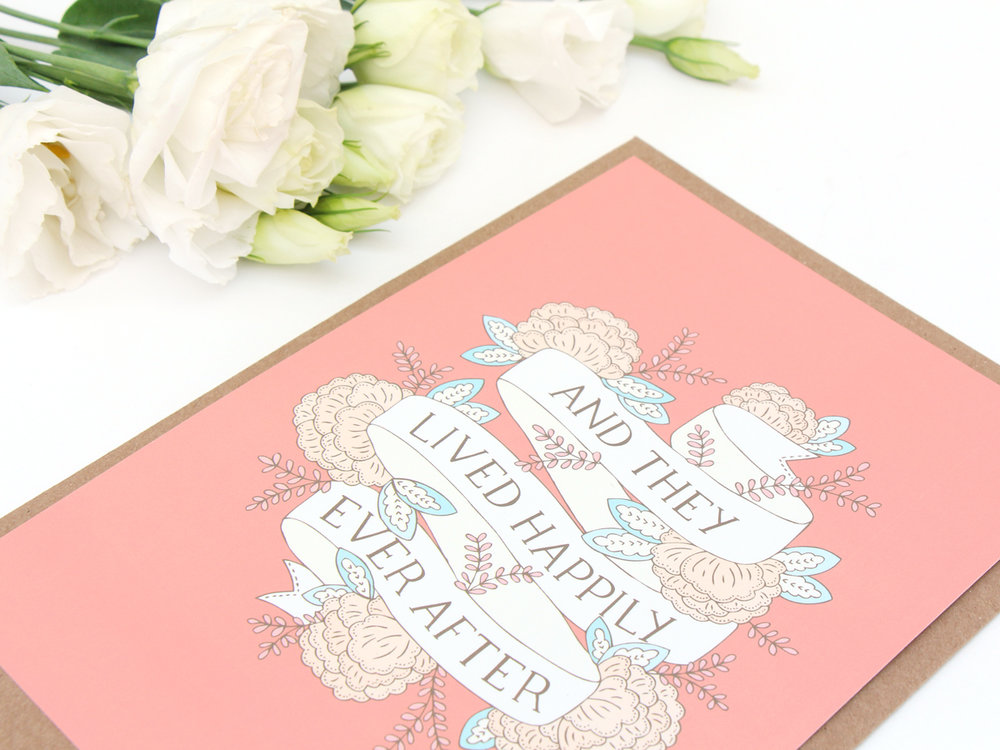 Bea and Bloom Illustrated Wedding Stationery Happily Ever After Fairytale