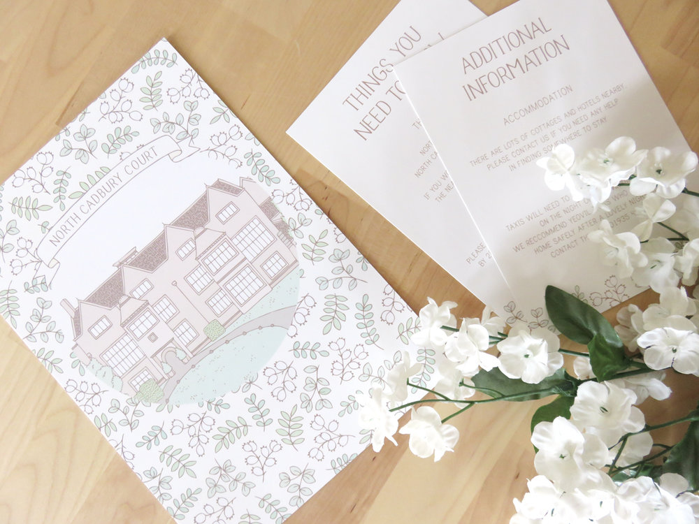 Bea and Bloom Illustrated Wedding Stationery Custom Venue Illustration