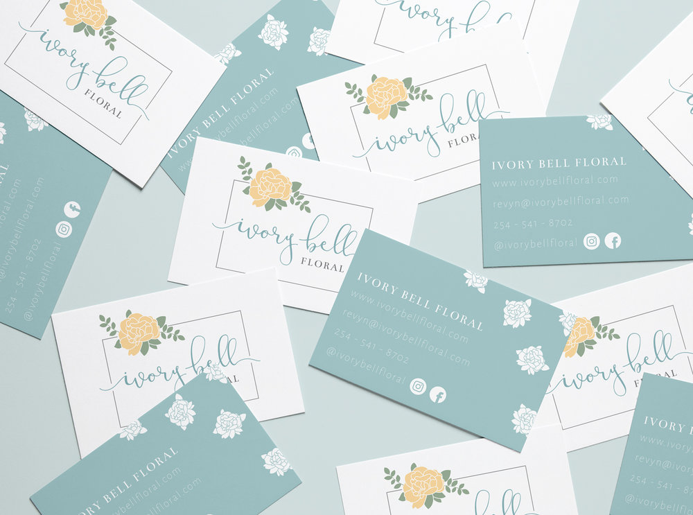 Ivory Bell Floral Logo & Branding Business Cards by Bea & Bloom Creative Design Studio