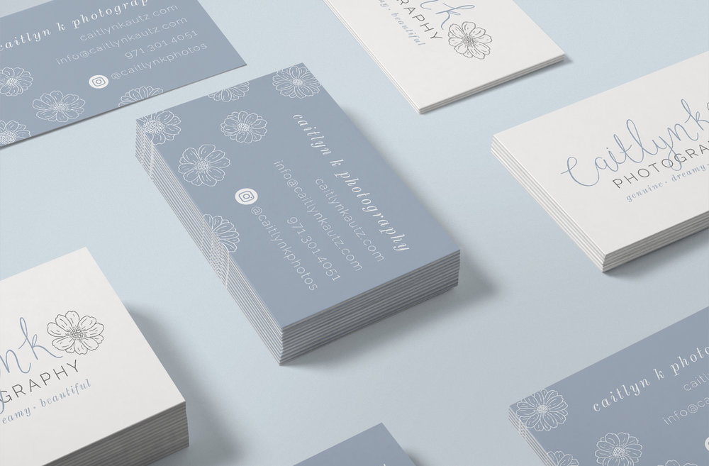 Caitlyn K Photography Business Cards Logo & Branding by Bea & Bloom Creative Design Studio