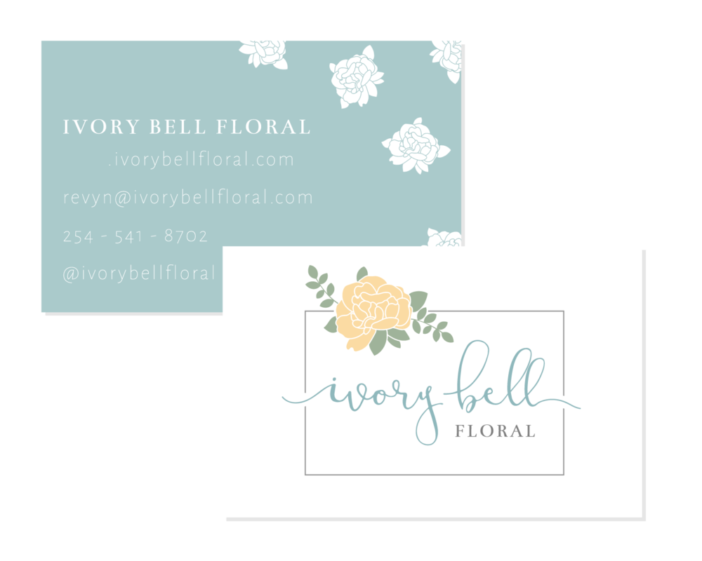 Ivory Bell Floral Logo & Branding Business Card Bea & Bloom Creative Design Studio