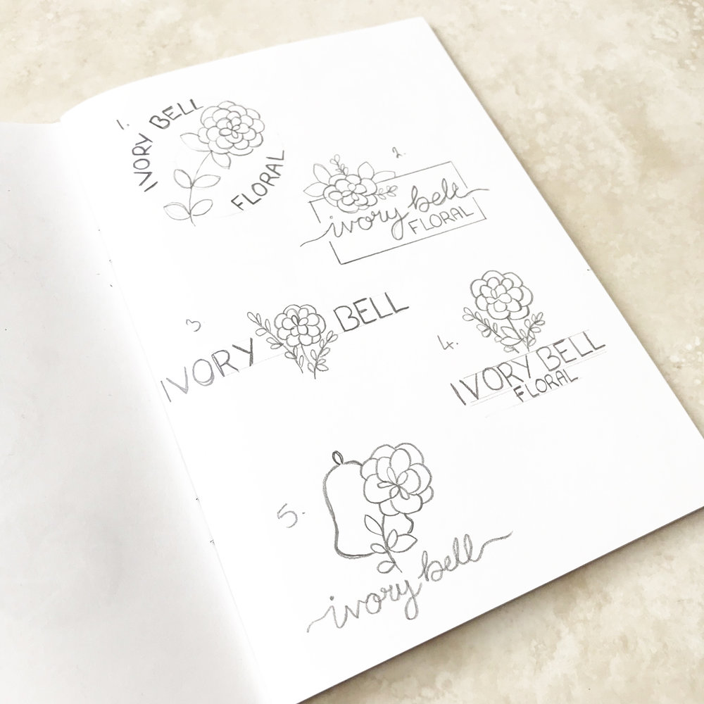 Ivory Bell Floral Logo & Branding Bea & Bloom Creative Design Studio sketchbook