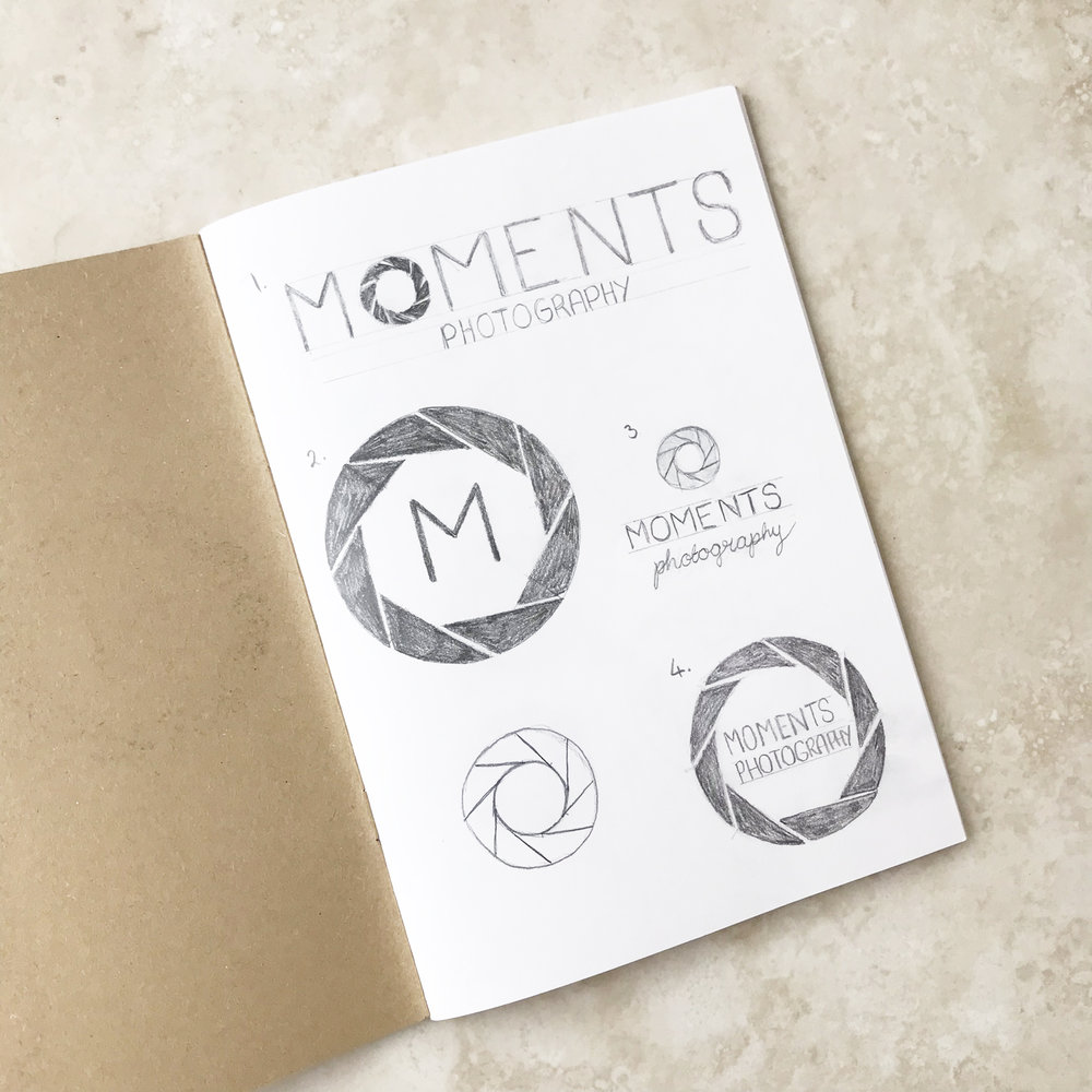 Moments Photo Studio Logo & Branding Design Bea & Bloom Creative Design Studio sketchbook