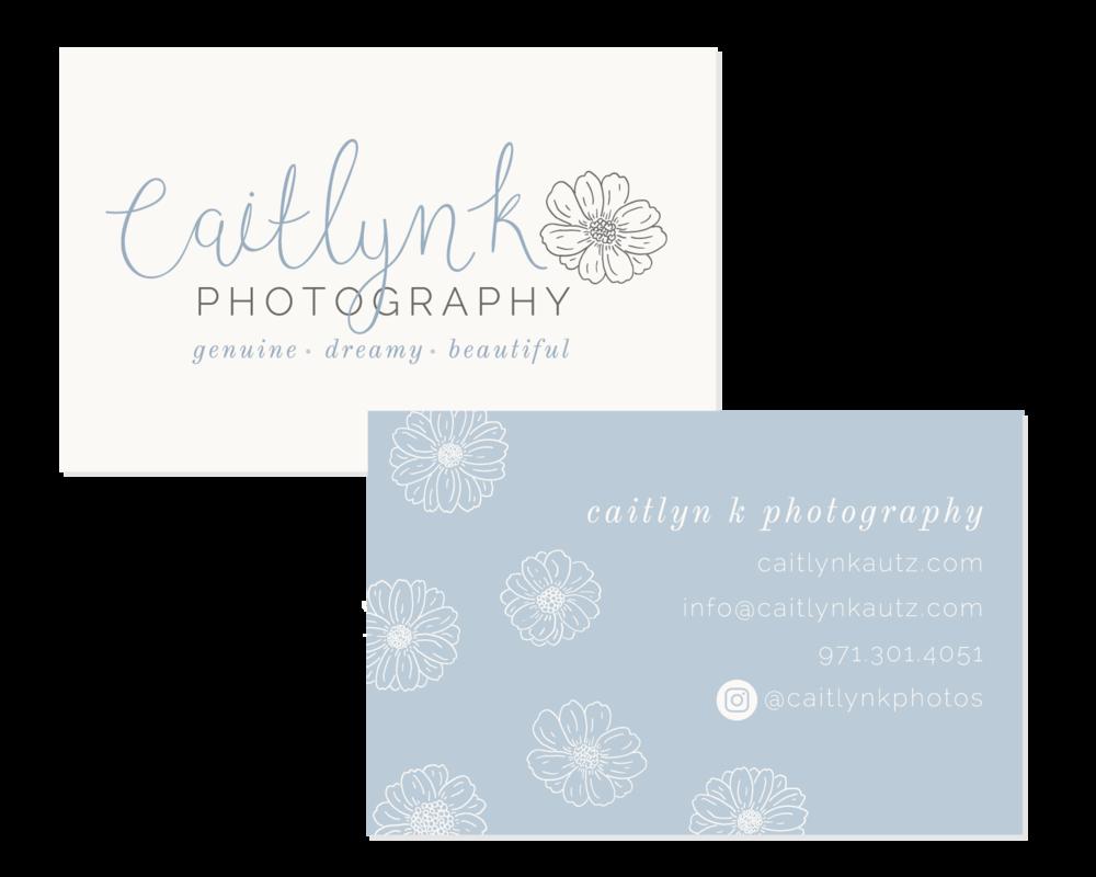 Caitlyn K Photography Logo & Branding Design Business Cards Bea & Bloom Creative Design Studio