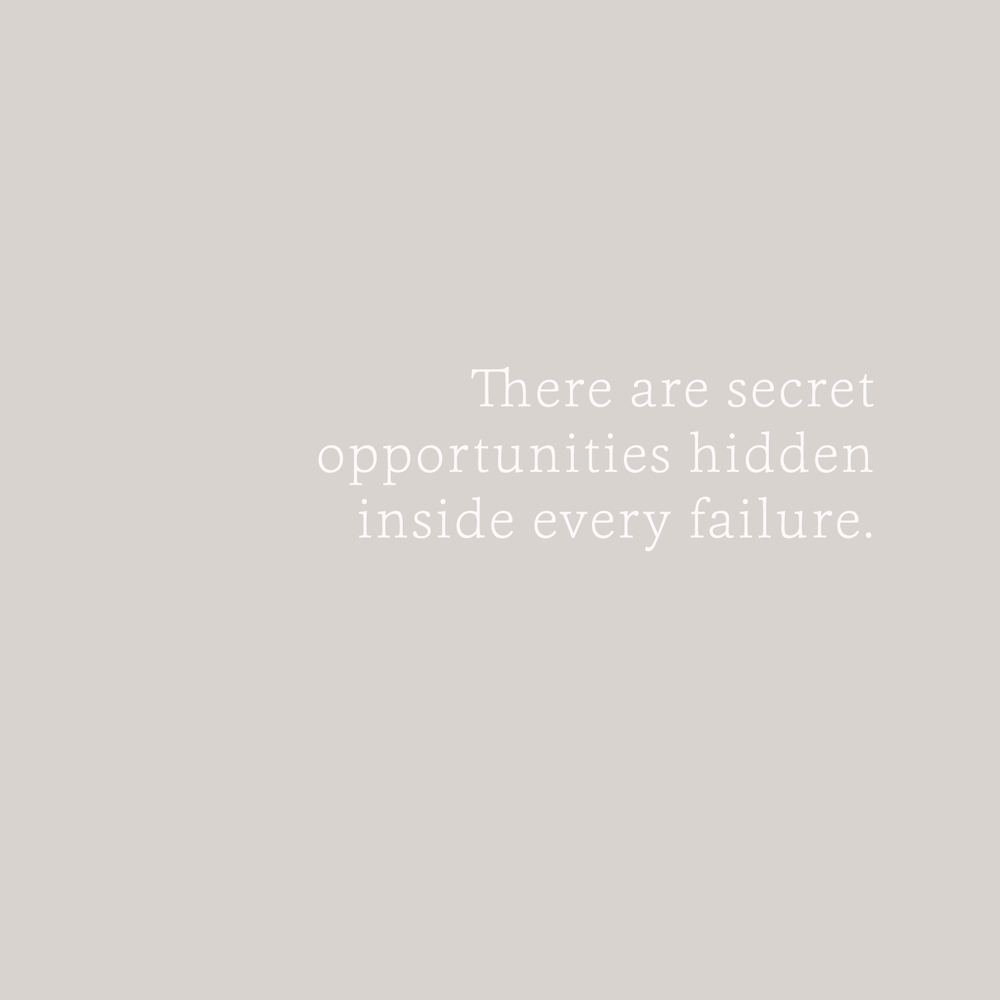 there are secret opportunities hidden inside every failure