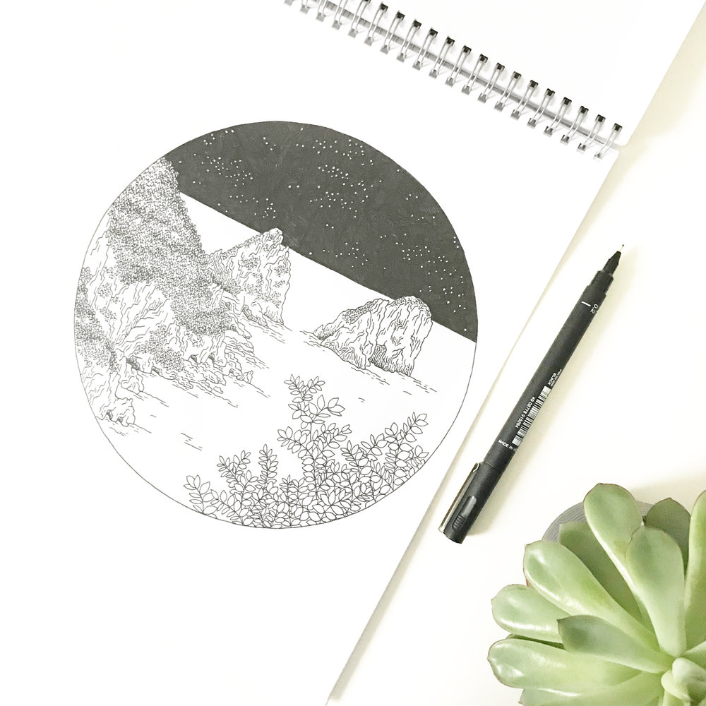 Capri travel sketchbook illustration - Bea & Bloom Creative Design Studio
