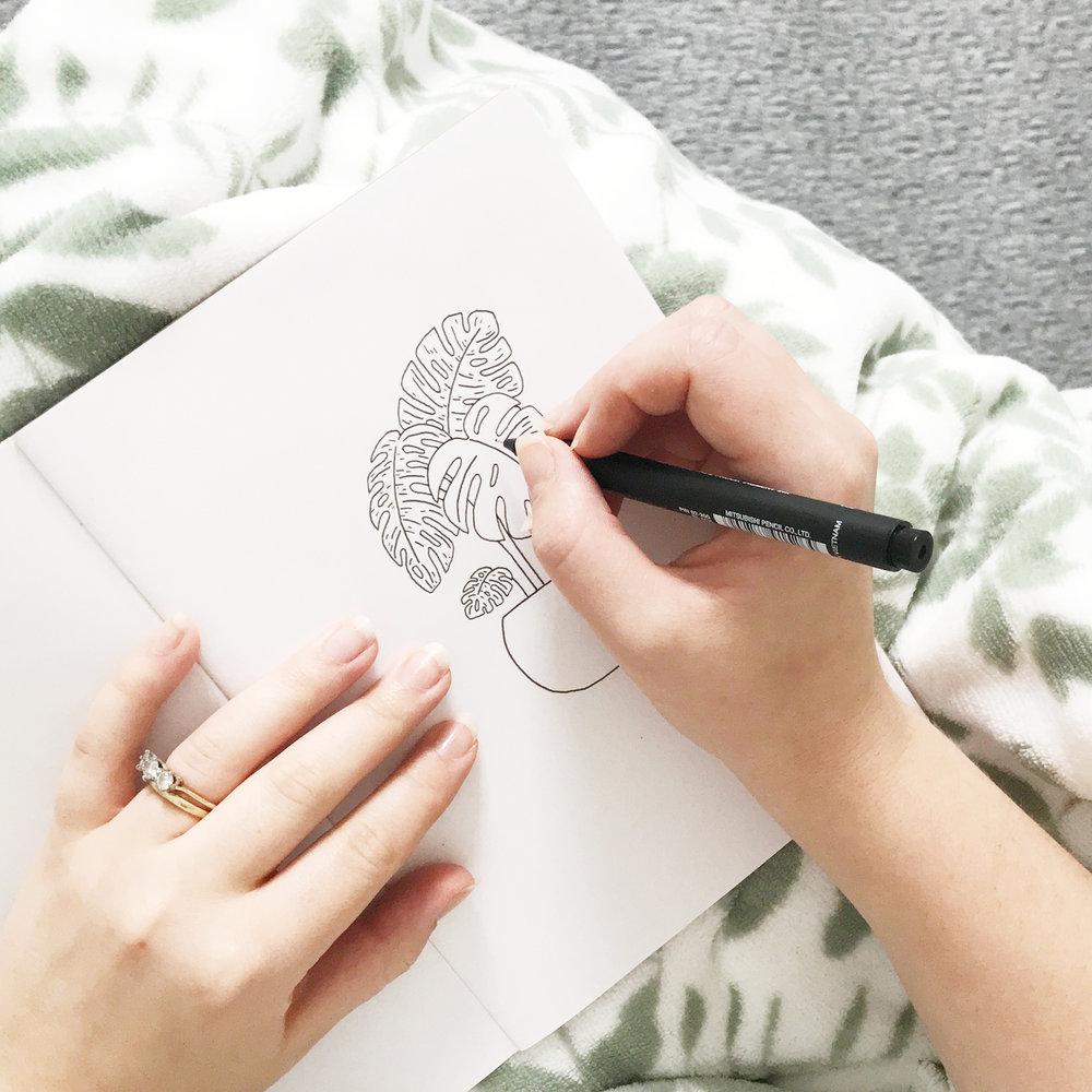 Plant sketchbook drawing - Bea & Bloom Creative Design Studio
