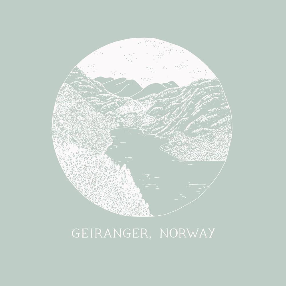 Geiranger Norwegian Fjords - Travel illustration - Bea & Bloom Creative Design Studio