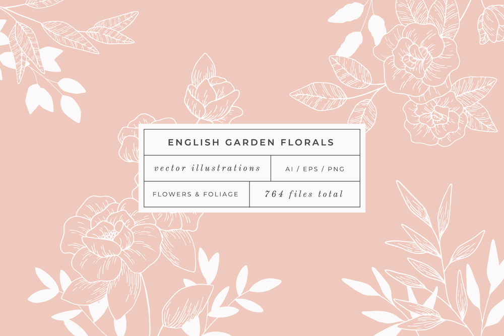 English Garden, Vector Illustration pack available on Creative Market - by Bea & Bloom Creative Design Studio