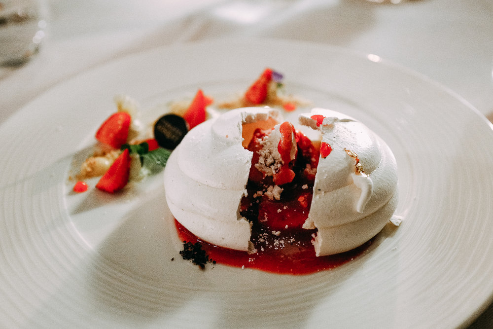 A BROKE MERINGUE.  Lime ganache, brunoise and sorbet of strawberries lime and strawberries gel and lime sablé.