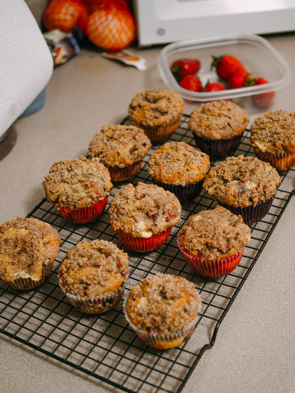 Baked strawberry cheesecake muffins!