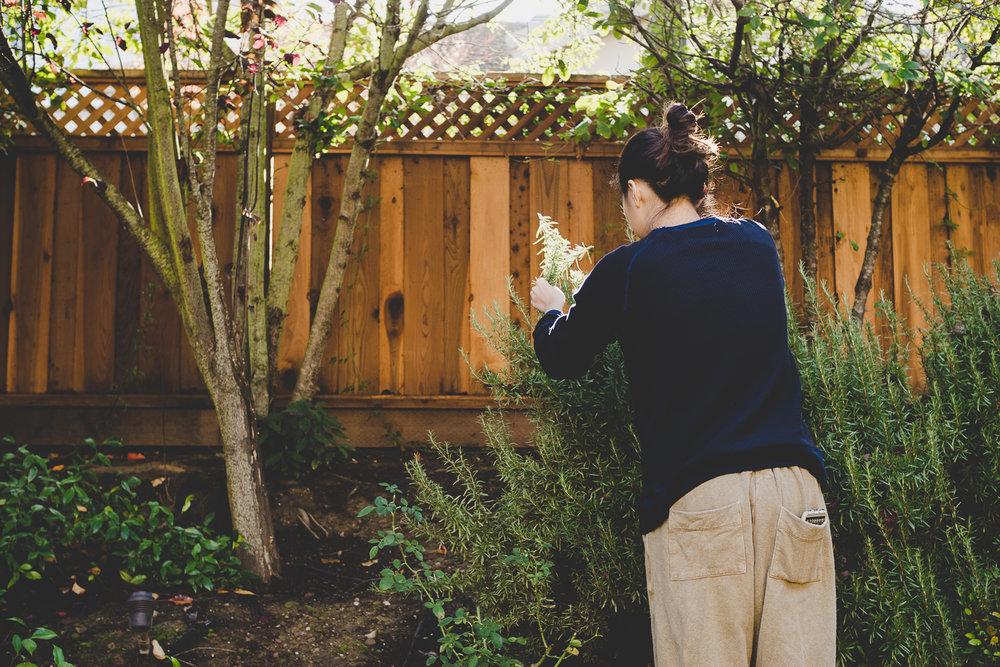 Nina gardening!